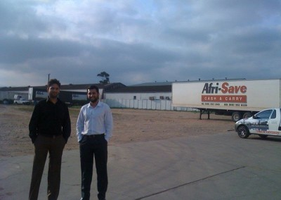Mr Lockhat and Mr Ahmed Amla in Port Elizabeth at a client