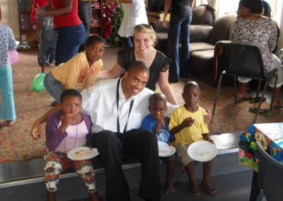 Herbert and Shuvee having a meal with the kids